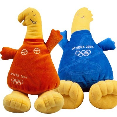 """""""Phevos and Athena"""" were the mascots for the 2004 Summer Games in Athens, Greece. They were inspired by ancient Greek dolls and named after Greek gods."""