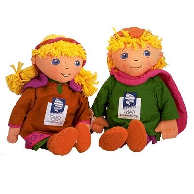 """""""Håkon"""" and """"Kristin"""" are two children from Norwegian folklore dressed in Viking clothes. They were the mascots for the 1994 Winter Games in Lillehammer, Norway."""