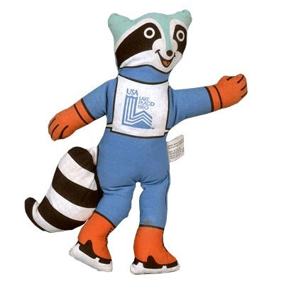"""""""Roni"""" the raccoon was the mascot at the 1980 Winter Games in Lake Placid, N.Y. He replaced Rocky, a real raccoon, who died before the games began."""