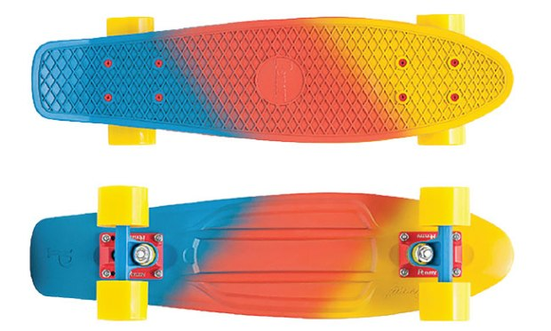 "Canary 22"" Penny Painted Fade ($120; pennyskateboards.com): This compact board has a plastic deck that's 22"" long with aluminum Penny trucks and 59 mm wheels (83a)."