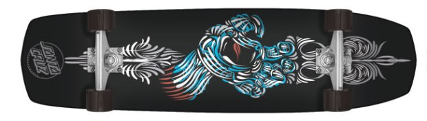 "Santa Cruz Pinhand Cruzer ($173; nhsfunfactory.com): Deck is 9.25"" x 34.83"" with Krux 6.0 trucks and 60 mm wheels (78a)."