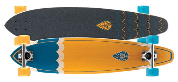"Sector 9 Highline ($125; sector9.com): Deck is 8"" x 34.5"" with Gullwing 8.0 Mission trucks, ABEC 5 bearings and 64 mm Nineball wheels (78a)."