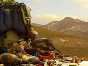 camping gear on a mountain
