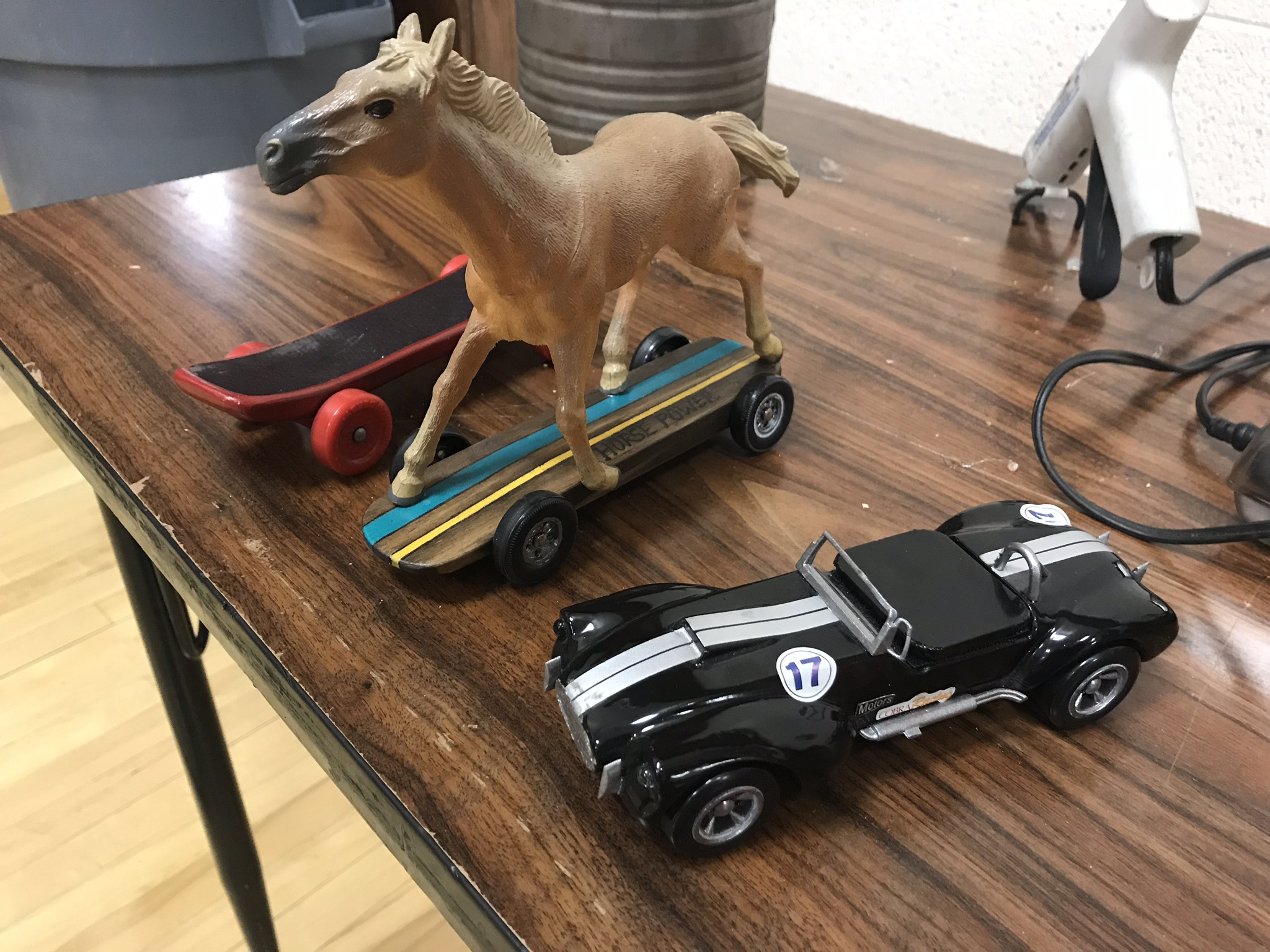 Skate board, horse power, and Cobra